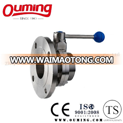 Sanitary Threaded Butterfly Valve with Circular Flange