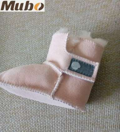 Magic Tape Design Sheepskin Baby Toddler Shoes in Pink
