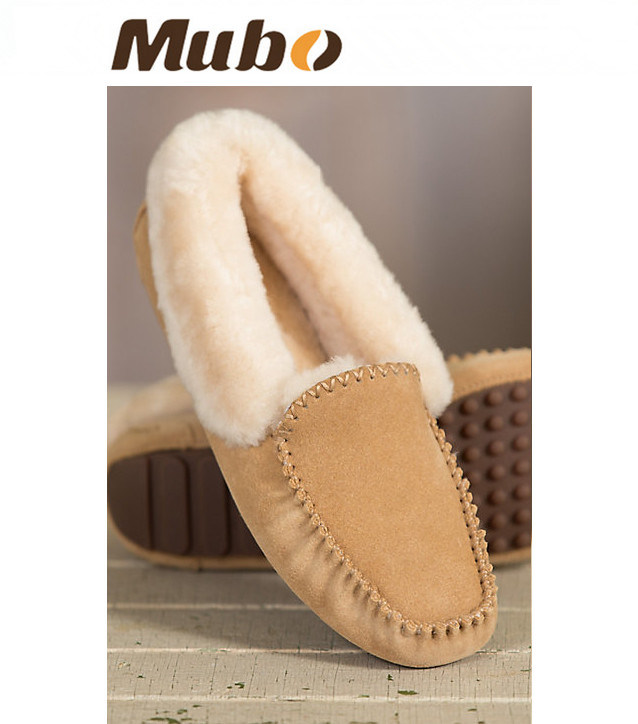 Warm Winter Moccasin Casual Sheepskin Shoes for Lady