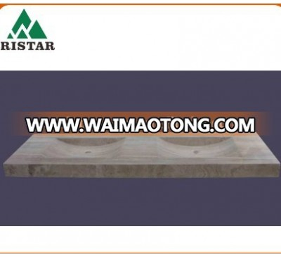 High quality marble stone double bathroom basins and double stone sinks RST-SB042
