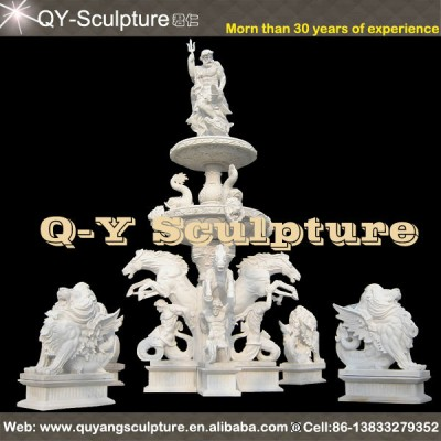 White Large Carved Garden Water Fountain