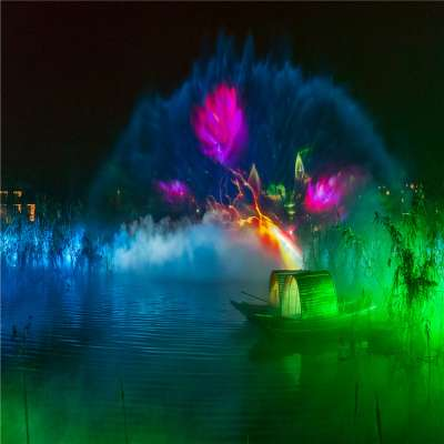 Outdoor Beautiful Water Laser Show and  Water Screen Movie  Projection Water Fountain