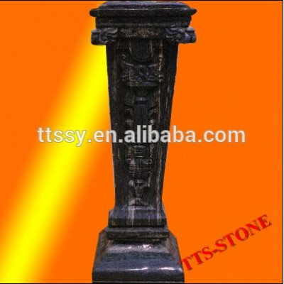 Natural stone black small pillar