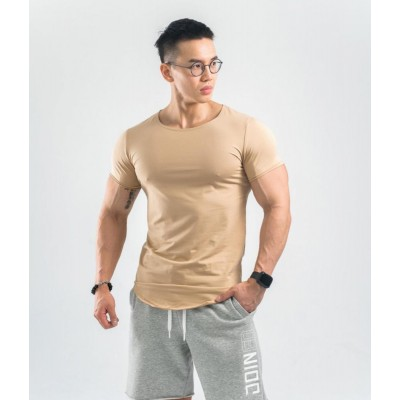Short-sleeved T-shirt with Curved Underside Body-building Breathable Top