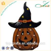 wood craft halloween pumpkin with led