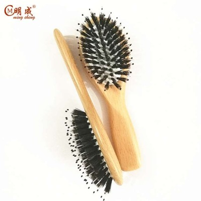 Mengcheng brand free custom logo baby wooden brush and comb set,baby hair brush and comb