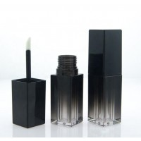 5ml/0.17oz Black Gradient Square Lip Gloss Tube Containers with Rubber Stopper and Wand Applicator Empty Refillable Plastic Lips