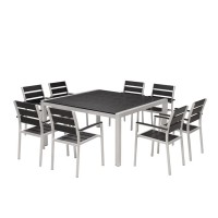 Plastic wood  top   modern  square aluminum outdoor dining tables with chairs
