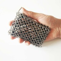 Black Color Chainmail Scrubber for lodge cast iron skillet