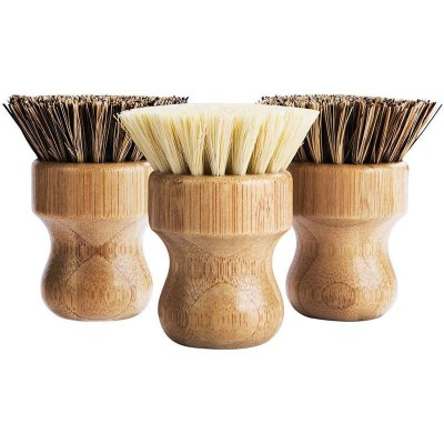 Small Bamboo Dish Scrub Brush Natural Scrub Cleaning Brush Vegetable Brush for Dishes Cast Iron Pots Pans