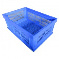 Ventilated Vegetable Folding Baskets Collapsible Plastic Fruit Crates with holds