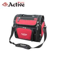 polyester tool bag with tubular handle and shoulder strap