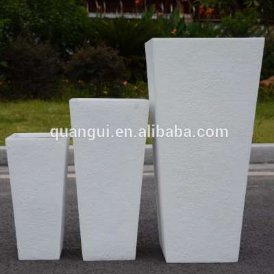 Factory sales light weight outdoor large square stone garden pot