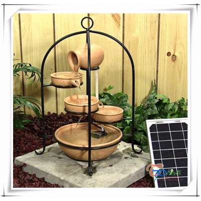 2017 Hot Sale Birdcage Cascade Solar Small LED Water Feature