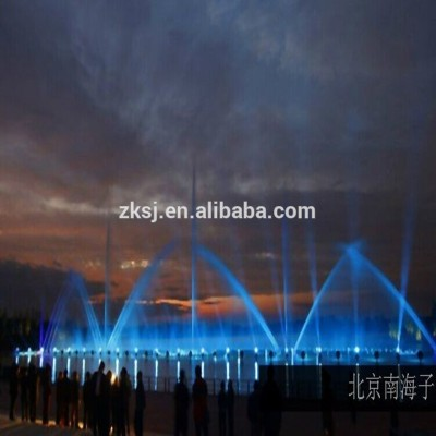 Outdoor large modern amusement park musical dancing water fountain