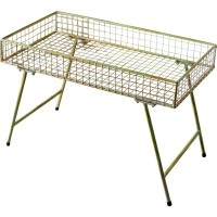 Factory direct floor 2 tiers rectangular metal wire mesh plant stand display